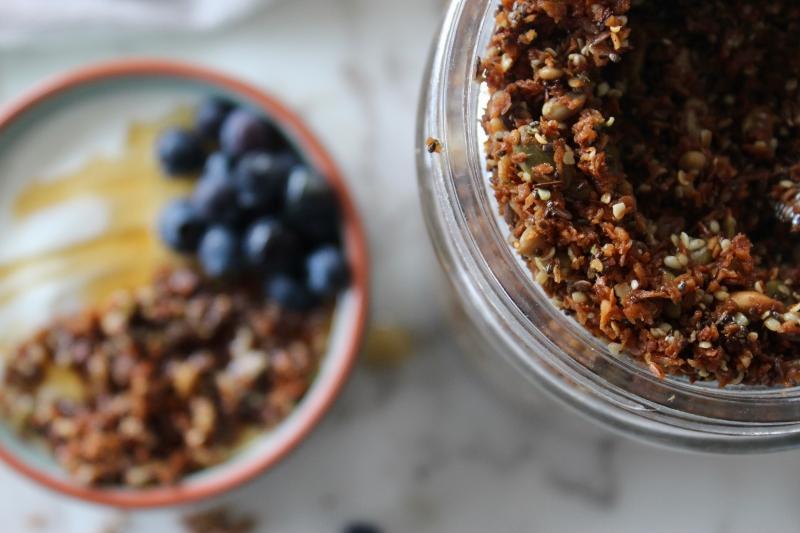 Grain-free Granola, keto, paleo, gluten-free, sugar-free, allergy-sensitive